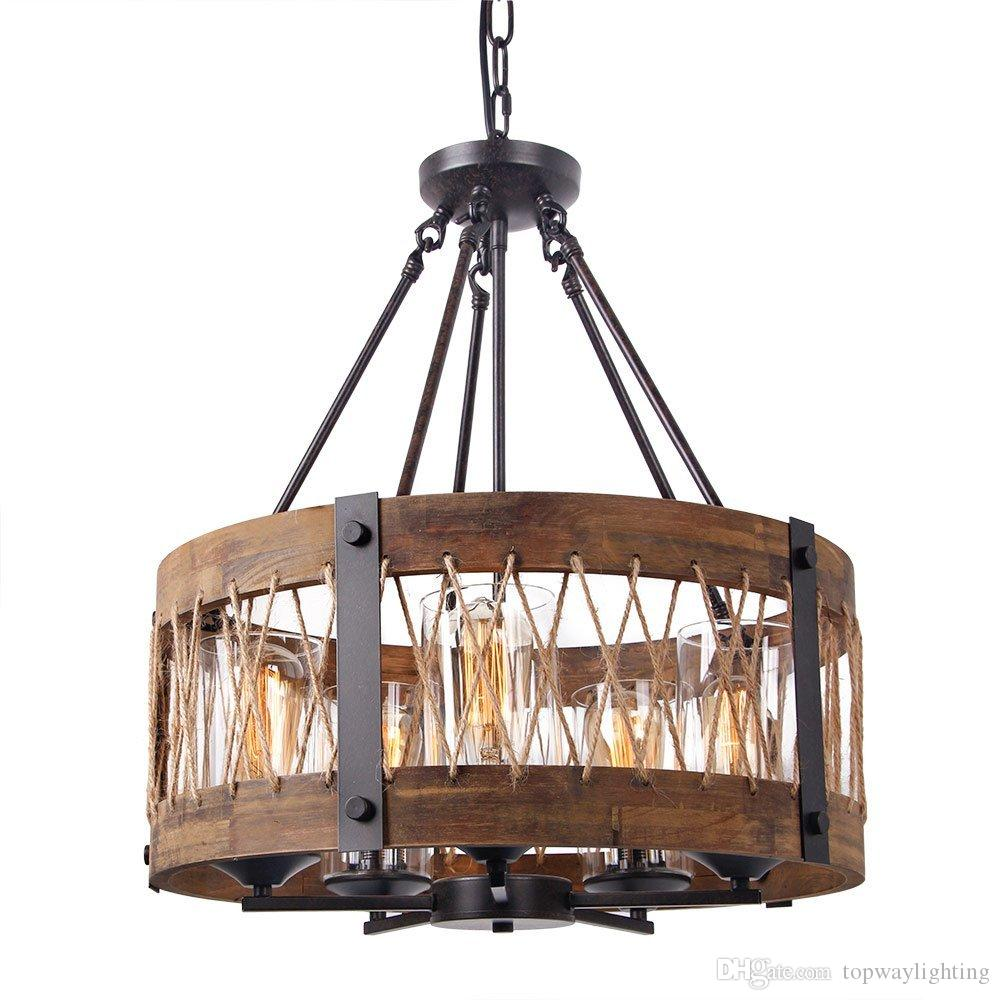 hanging lighting fixtures. Round Wooden Chandelier With Clear Glass Shade, Edison Wood Island Pendant Lighting Fixtures, Black Color Iron Ceiling Lamp Hanging Modern Fixtures