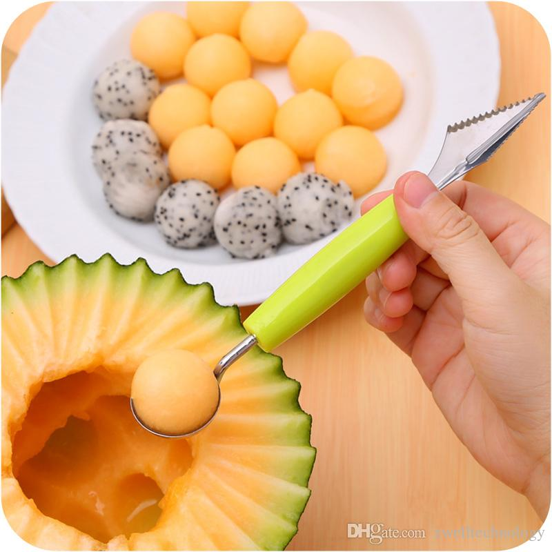 Stainless Steel Fruits Scoop Spoon Baller with Carving blade Fruit Carving Tools Scoop Baller for Watermelon or Ice Cream