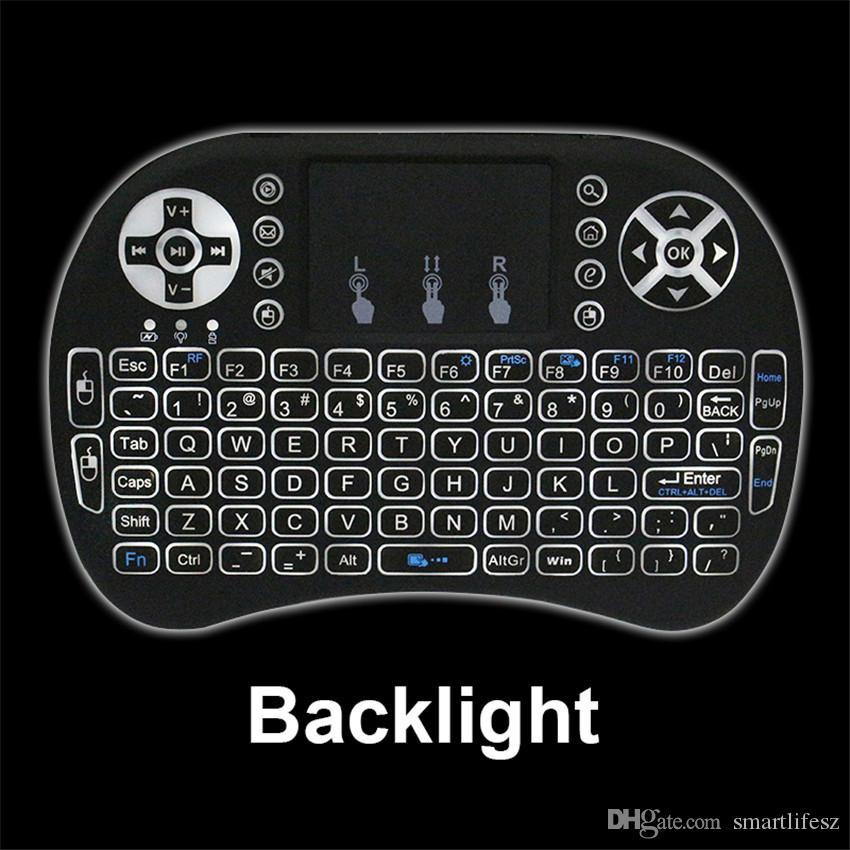 RII I8 Air Fly Mouse Backlight Negro Color blanco 2.4G Mini teclado inalámbrico con panel táctil para S912 S905X Smart Android TV Box
