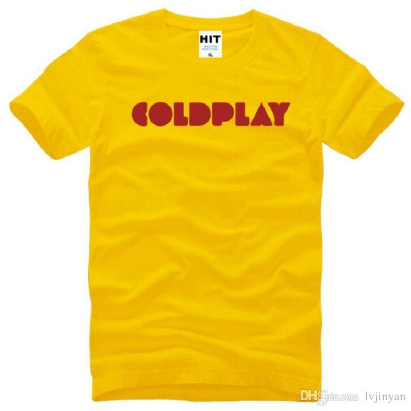 New British Style Rock Band Coldplay T Shirts Men Cotton Short Sleeve O-Neck Printed Men's T-Shirt Summer Rock Hip Hop Tops Tees