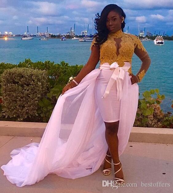 2017 New High Low Prom Dresses Long-Sleeves Detachable-Skirt High-Neck Lace Gold Glamorous Evening Dresses Celebrity Gowns Custom