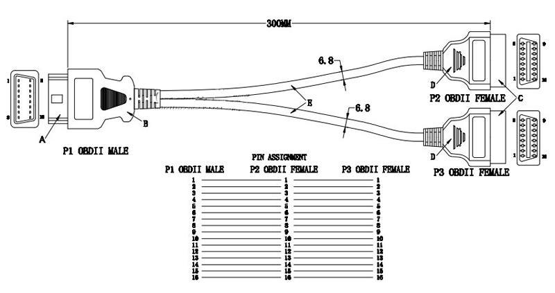 30 см 16 Pin OBD2 расширение Line1 до 2 адаптер линия 90 градусов Локоть провод OBD кабель интерфейс адаптер использовать для всех OBD 2 автомобилей