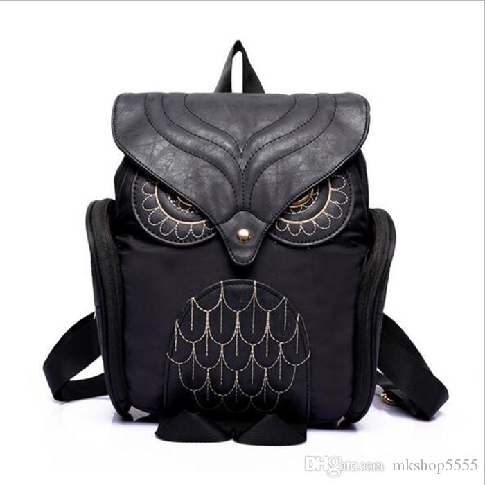 2018 Stylish girl Backpack Cool Black PU Leather Owl Backpack Female Hot Sale Women shoulder bag school bags Leisure Travel Backpack Blosas