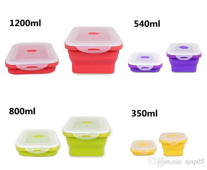 Portable Folding Silicone Lunch Box Food Grade Silicon Collapsible