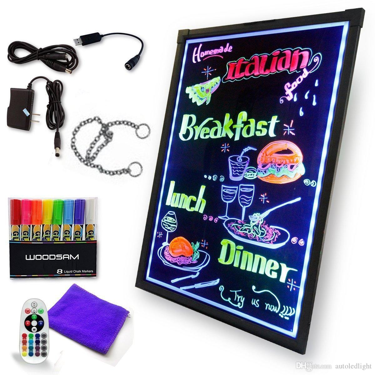 LED Writing Message Board Illuminated Erasable Neon Effect Restaurant Menu Sign with Markers, Flashing DIY