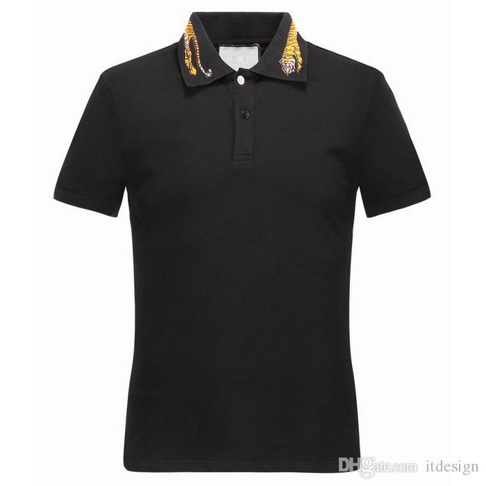 Тигр воротник топ мужчины плюс 3XL вышивка Тигры шеи рубашка поло человек дизайн Моды стрейч поло Мужской