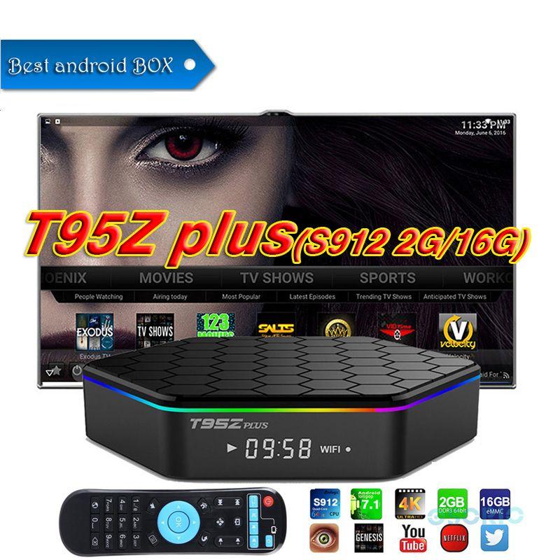 2018 Android 7 1 TV Box Octa Core 2GB 16GB T95Z plus S912 IPTV Smart Media  Player support 2 4G+5G WiFi Gigabit Lan BT4 0 set top box