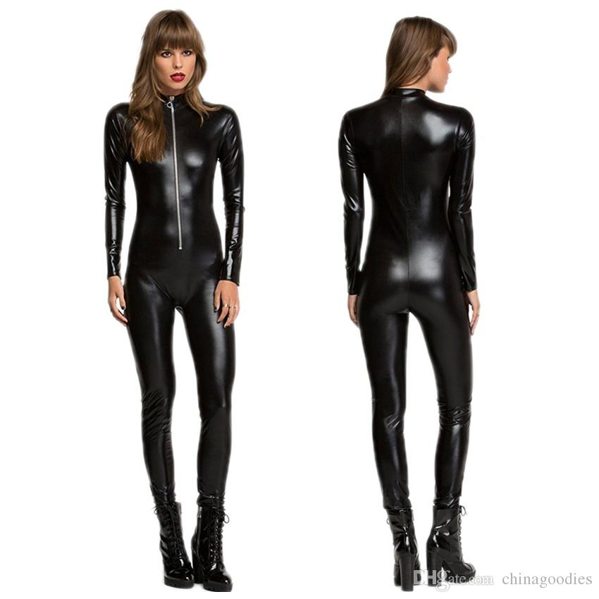 8ce8b21c3a 2019 Black Shiny Gothic Catsuit Jumpsuit Bodysuit Sexy Catwoman Ladies  Fancy Dress Zipper Front Clubwear Costume Size S M L From Chinagoodies