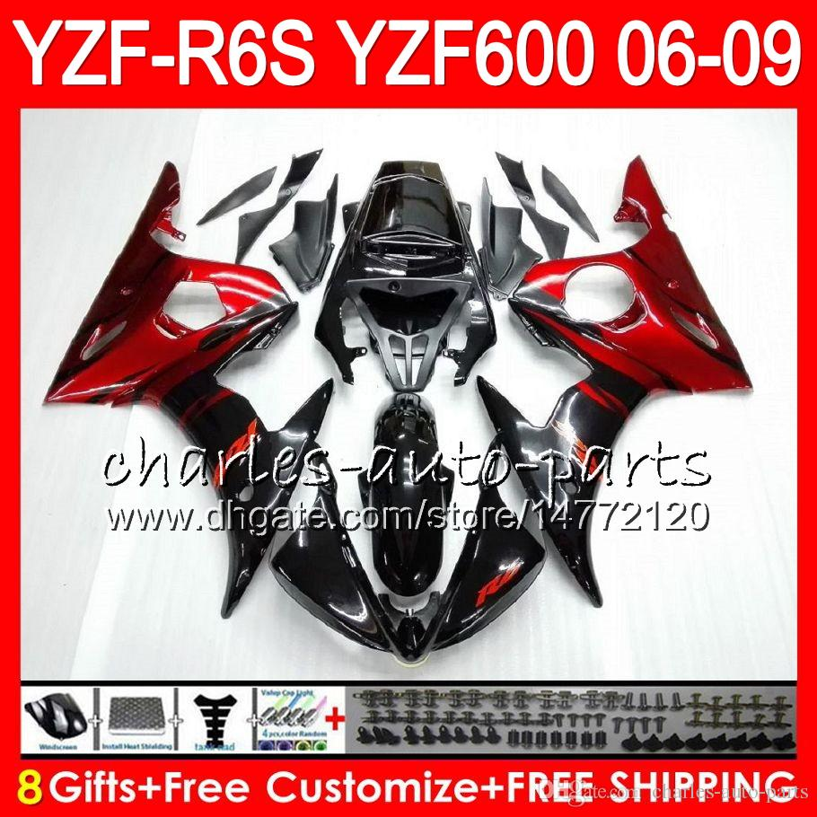 8Gifts Body For YAMAHA YZF600 YZFR6S 06 07 08 09 red flames 57HM3 YZF R6 S YZF 600 YZF-R6S YZF R6S 2006 2007 2008 2009 Fairing kit