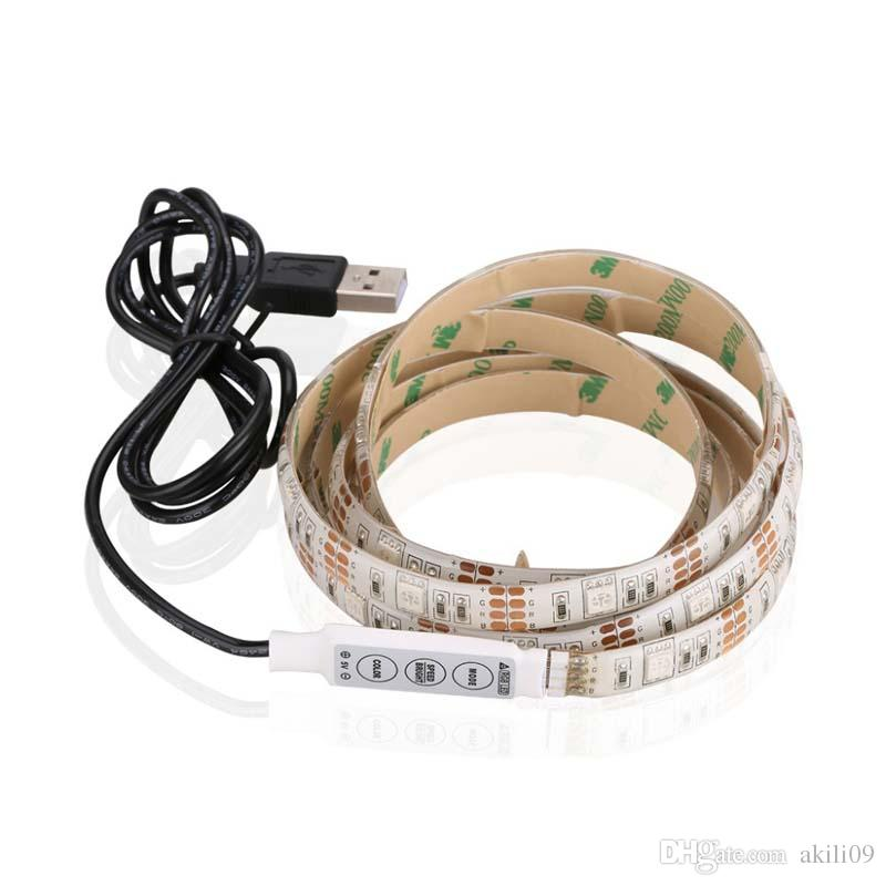 DC 5V USB Power Supply Decor RGB LED Strip light lamp Tape SMD 5050 50CM 1M 2M 60LED Ribbon For TV Background Lighting