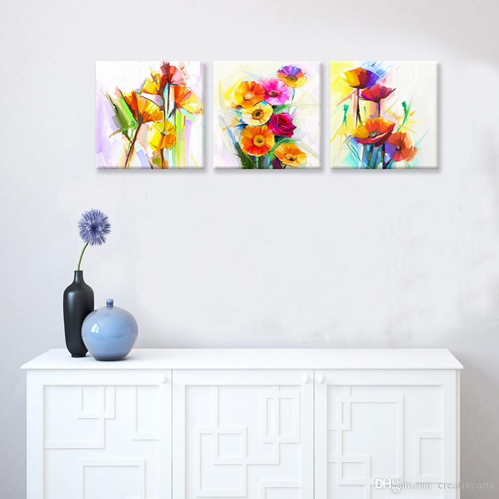 Abstract Flower Painting Canvas Prints Giclee Printing Home Wall Decoration Unframed30cmx30cmx3