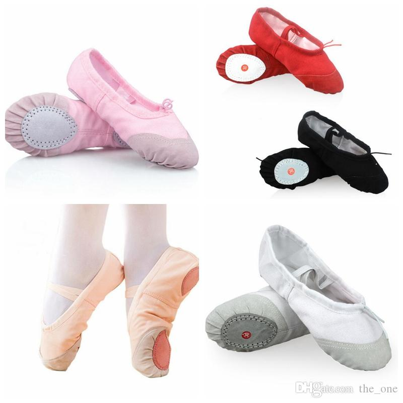 Women Kids Ballet Dance Shoes Canvas Black Pink Red White Children