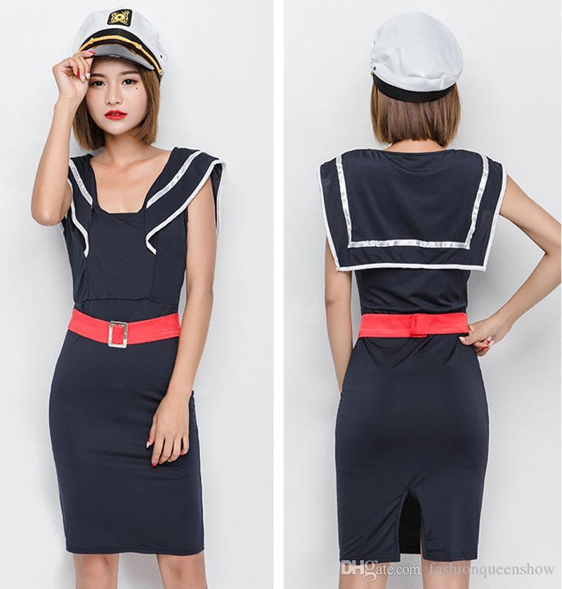 Vestito da marina stile sexy Attraente ragazza costume da marinaio di Halloween Uniformi cosplay donne Role Play Party Dress