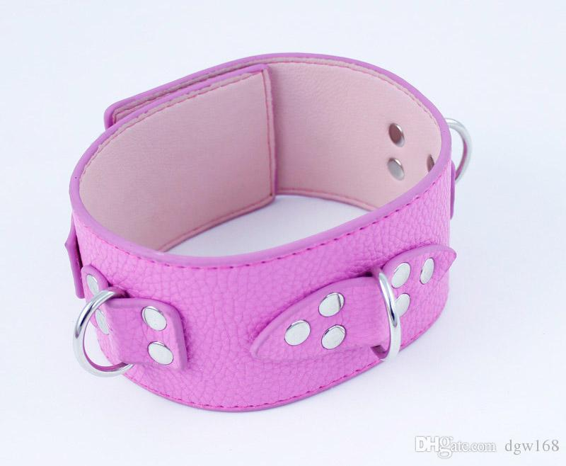 BDSM Sex Toys Pink Leather Slave Collar Bondage Neck Collars Restraints Sex Games for Couples Sex Products OOB