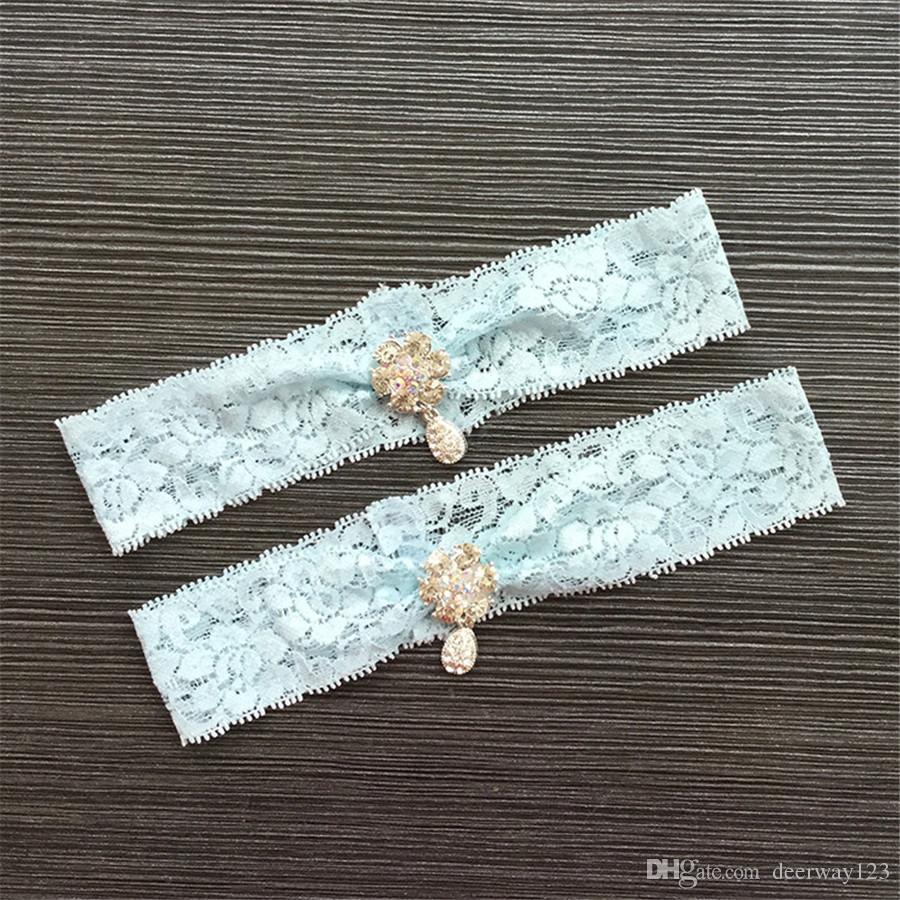 Women's Sexy Lingerie Garter Lace Belt Legs Ring Harness Wedding Garters bridal Leg Garter Heart Garter Black/Blue with Crystal