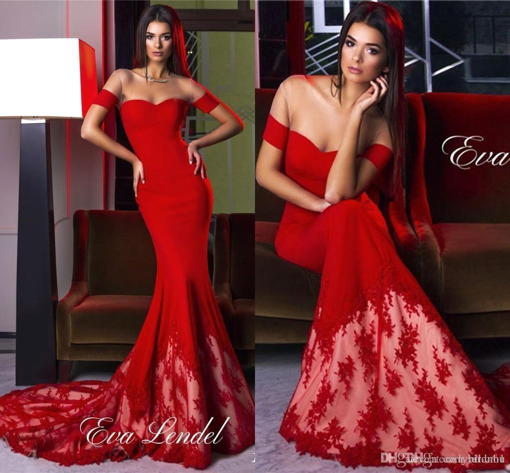 2017 Hot Red Illusion Mesh Neckline Mermaid Prom Dresses Fancy Long ...