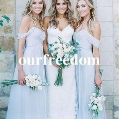Amsale 2019 Lindo Draped Céu Azul Off-ombro Praia Boho Longo Da Dama de Honra Vestidos de Festa de Casamento Boêmio Guest Bridesmaids Vestido Barato