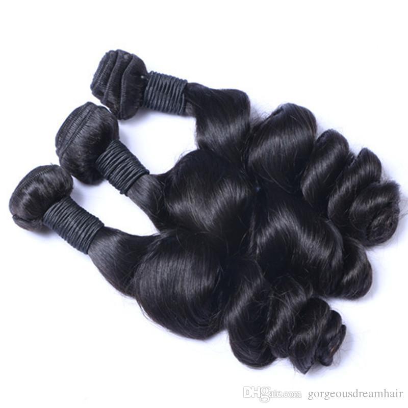 Brazilian Virgin Hair Loose Wave Hair Weave 3 Bundles 300g Unprocessed Loose Deep Wave Virgin Human Hair Weave Natural Black 10-30inch