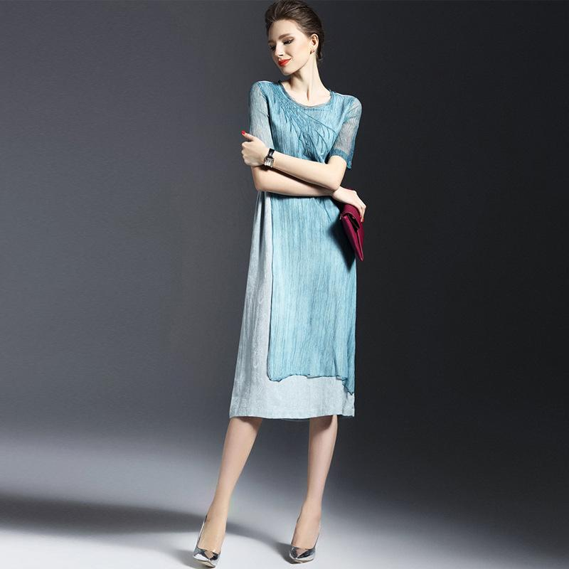 Linen Summer Dress Dress Plus Fashion Retro Emulation Silk ...
