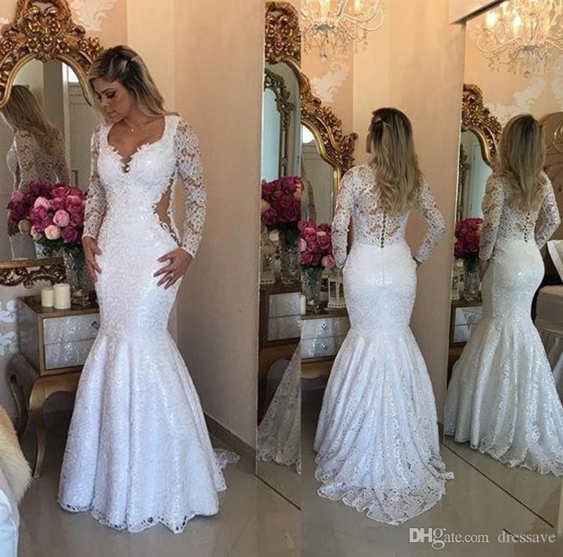 7849c812c9 2018 Lace Long Sleeve Mermaid Prom Dresses Elegant Arabic Floor Length  Bridal Vestidos Plus Size Back Covered Buttons Evening Gowns Mermaid Prom  Dresses ...