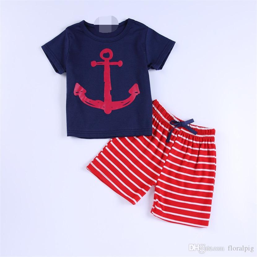 casual baby boy clothes short sleeve Anchor Sail Print t-shirt +Striped pants suit newborn baby summer clothing set