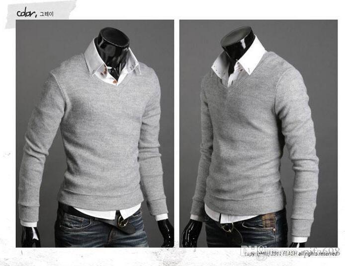 送料無料 - 新しいキノコの男性セーターバックルデザインメンズ長袖のセーター