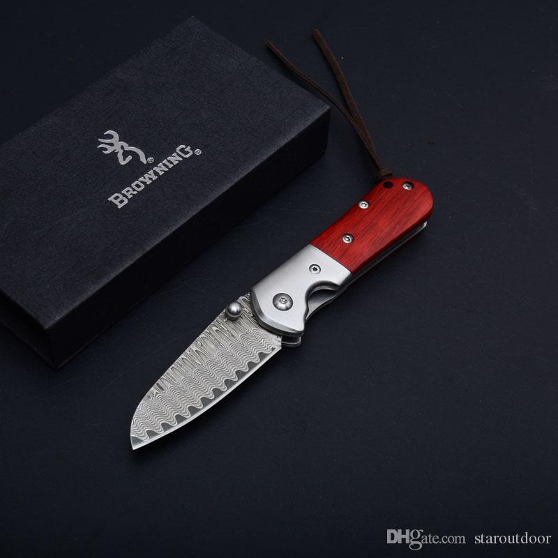 Browning Damasco Coltello Pieghevole Tattico Manico in Legno Campeggio Esterna Caccia Sopravvivenza Pocket Knife Utility Strumenti EDC Migliore Collezione di Natale