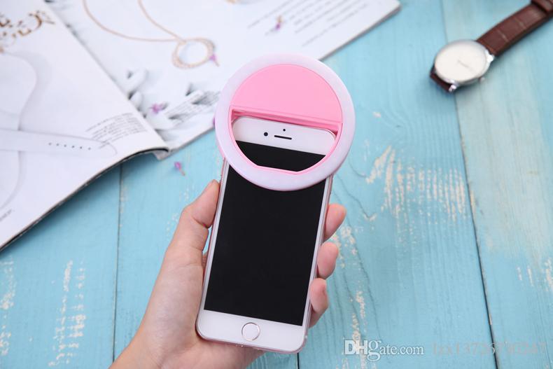 2018 Universal Luxury Smart Phone LED Flash Light Up selfie lumineux Téléphone anneau pour iPhone pour Android avec chargement USB