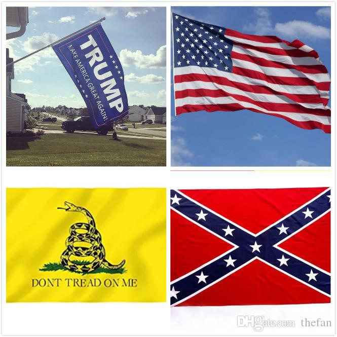 90*150CM Confederate Rebel Civil War Flags DONT TREAD ON ME Flag USA Flag Donald Trump Flag 2016 Make America Great Again DHL