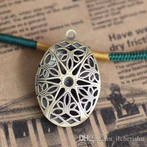 25*38*9MM Silver/antique bronze/rose gold/black gun oval flower photo locket charms jewelry, metal filigree picture frame pendants wish box