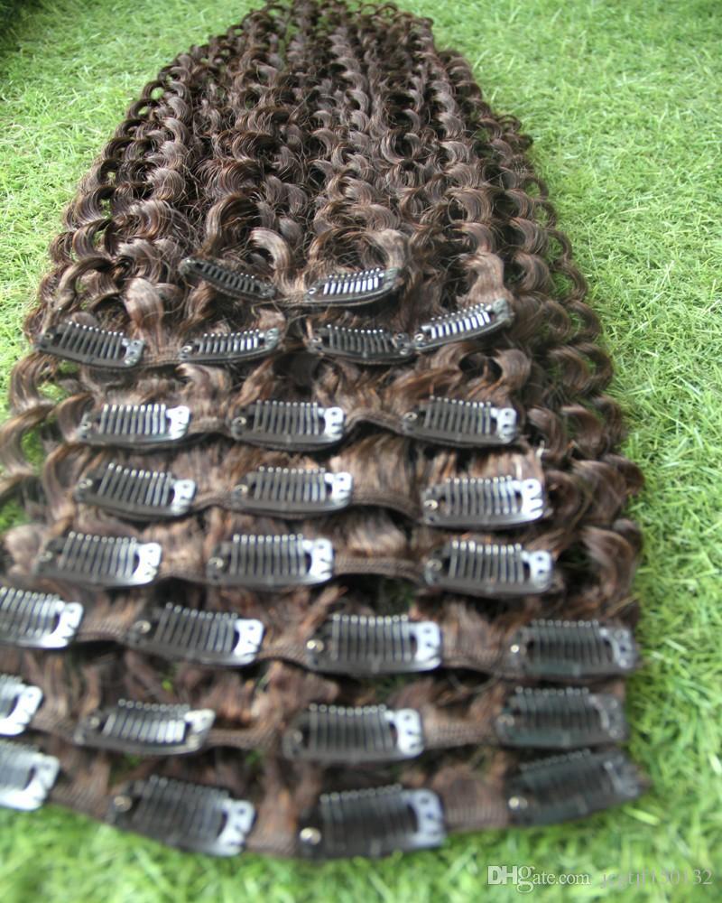 # 4 marrone scuro kinky clip riccia in estensioni dei capelli 9 pz clip africano afroamericano nelle estensioni dei capelli umani 100 g clip riccia viziose afro