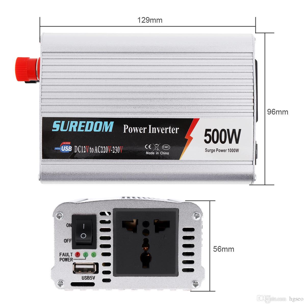 500W DC 12V 24V to AC 220V 110V Vehicle Power Inverter USB Adapter Portable Voltage Transformer Car Charger Surge Power 1000W CEC_62O