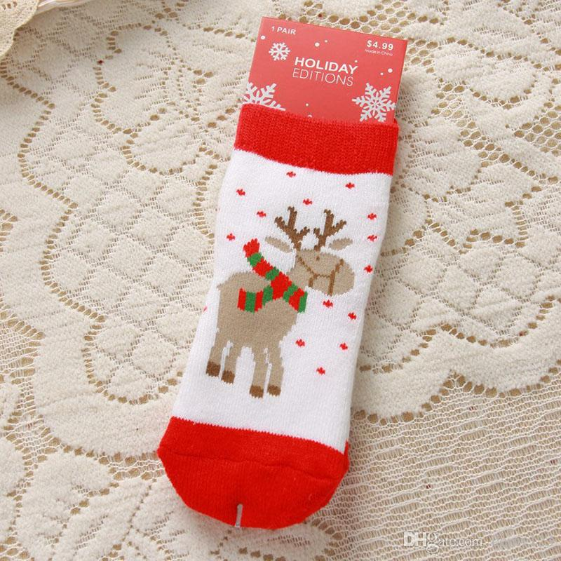 1-3 лет Хлопок Весна Зима Осень Детские Девушки Парни Дети носки Дети Полосатый Терри Снежинка Elk Санта-Клауса рождественские медведь