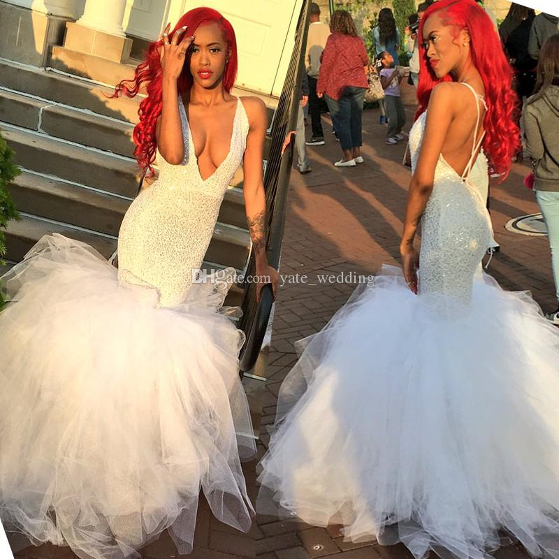 Sexy White Lace Tulle Mermaid Prom Dresses Plunging Neckline Cross Straps Back 2018 Newest Backless Party Dresses 2K18 Black Girls Dress