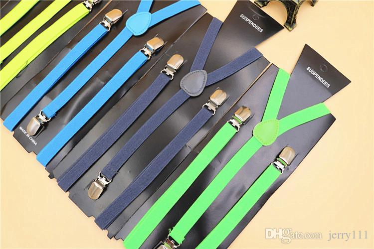 High Quality Candy Color Unisex Adjustable Pants Y-back Suspender Brace Elastic Clip-on Belt Adjustable Braces Suspenders TA207