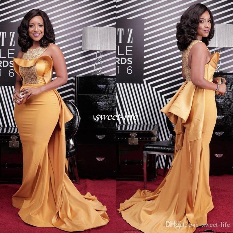 Sexy Mermaid Evening Dresses Scoop Neck Crystal Beaded Satin Dusty Yellow Plus Size Celebrity Dresses African Women Formal Evening Gowns