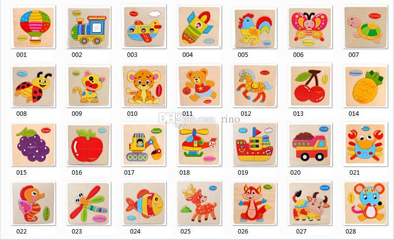Bébé 3D Puzzle En Bois D'apprentissage Jouets Éducatifs Pour Enfants En Bois Dessin Animé Animal Trafic Animal Puzzles Intelligence Enfants Enfants Jouets Éducatifs