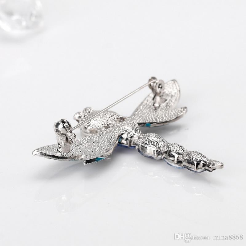 Luxury Crystal Dragonfly Brooches Pins Scarf Clips Brooch for Women Wedding Dailywear Banquet Bijoux