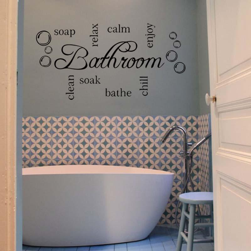 For Bathroom Word Cloud Quote Vinyl Wall Art Sticker Mural Decal Bathroom  Soak Enjoy Diy Decoration Diy Fish Wall Stickers Floral Wall Decals From ...