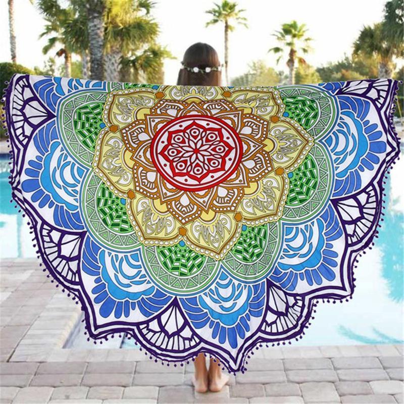 Lotus Print Round Beach Towel Large Yoga Mat Print Beach Throw Blanket Towel
