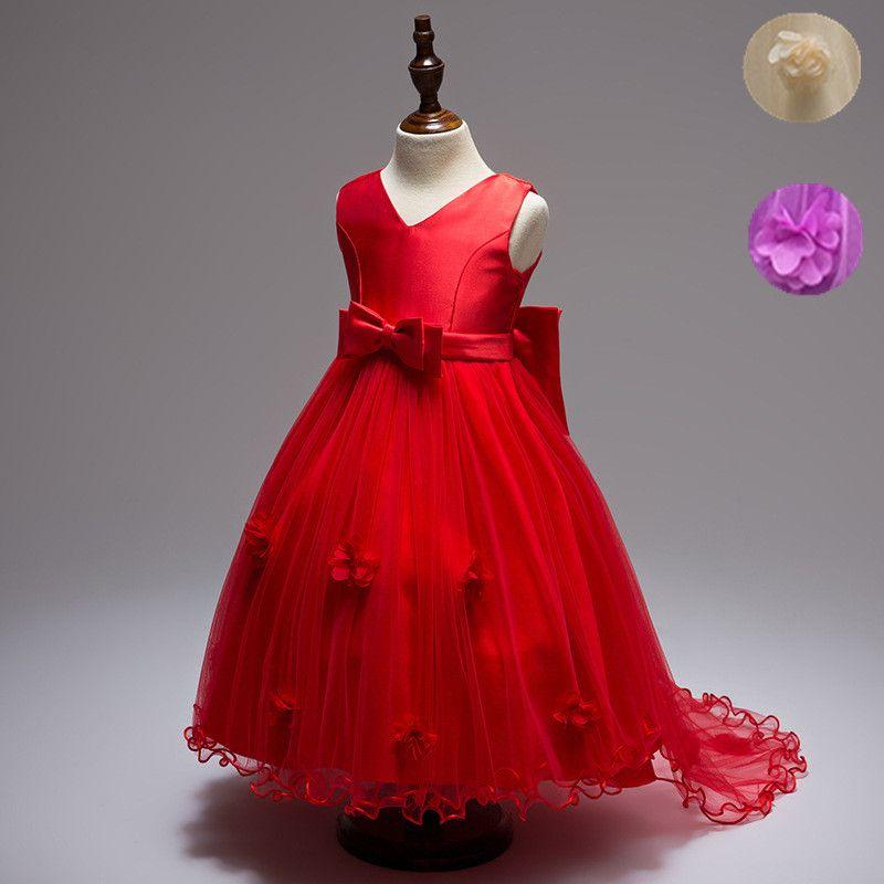 Teenagers High Low Princess Flower Girls Dress Bow Trailing Prom ...