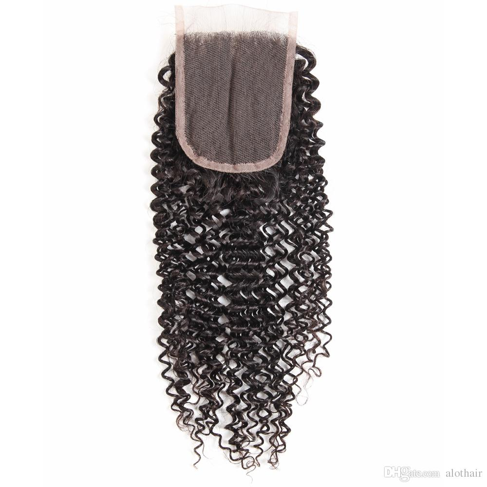 Peruvian Human Hair Bundles with Closure Kinky Curly Hair 3 Bundles with 4x4 Closure 100% Unprocessed Remy Human Hair Lace Closure
