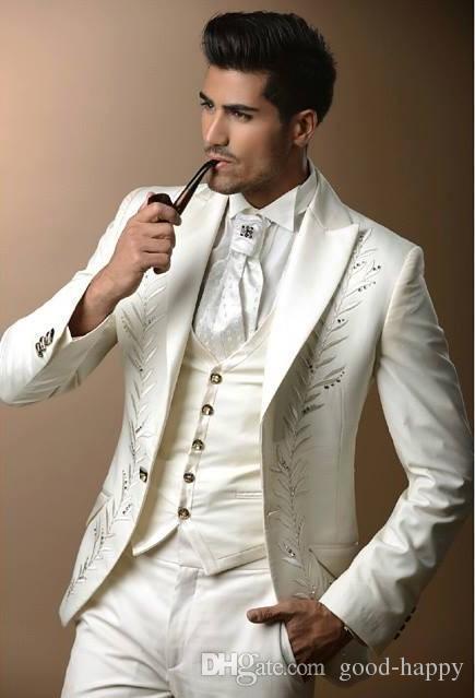 Slim Fit Broderie Groom Blanc Smokings Hommes Vêtements Costumes D'affaires Man Party Prom Blazer Costumes Sur Mesure Veste + pantalon ++ Cravate + Gilet NO: 178