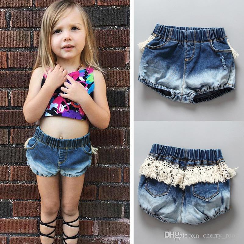2017 Fashion Baby Girls Denim Shorts Pants Hole Tassel Princess Girl Shorts Cowboy Style Bottoms ...