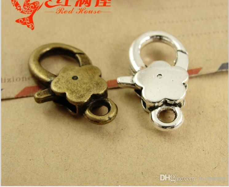 16*27MM Antique bronze plated plum flower lobster clasp for bracelet, vintage silver jewelry clasp for necklace, metal key ring holder hook