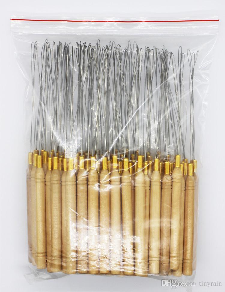 나무 손잡이 마이크로 링 / 루프에 대 한 바늘을 당기는 머리카락 확장 철 와이어 스레드 훅 머리 확장 도구를 당기는