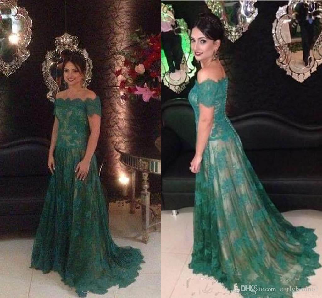 5d25d560d30c 2017 Elegant Cheap Green Evening Dresses Short Sleeves Full Lace Plus Size  Formal Evening Wear Gowns Women Prom Party Dresses Evening Dresses Plus Size  ...