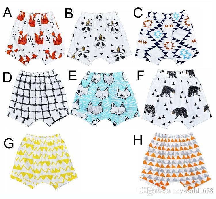 8 Entwurf INS Baby-Kurzschlüsse für Sommer-Kleinkind-Mädchen-Jungen-Pumphose-Tipi-Feder-Muster-Kind-Kurzschlüsse hight Qualität geben Verschiffen frei
