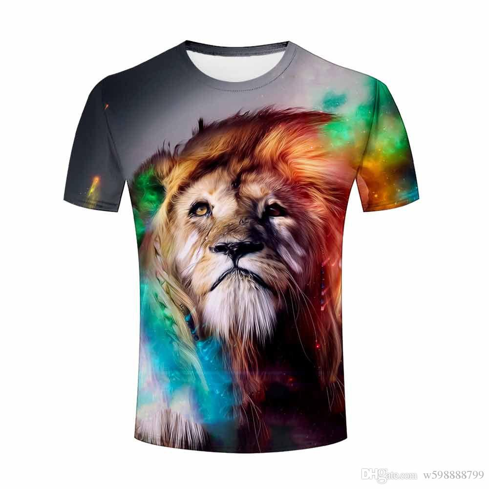 New 2017 Mens Short Sleeve T Shirt Flaming Horse Coloful Lion Cat