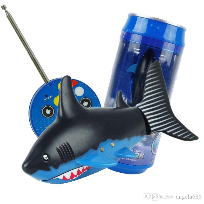 Mini RC Shark Under Water Coke Zip-top Pop-top Can RC Shark Fish 4CH Radio Remote Control Fish 3-Colors 3310B RC Toy for Kids